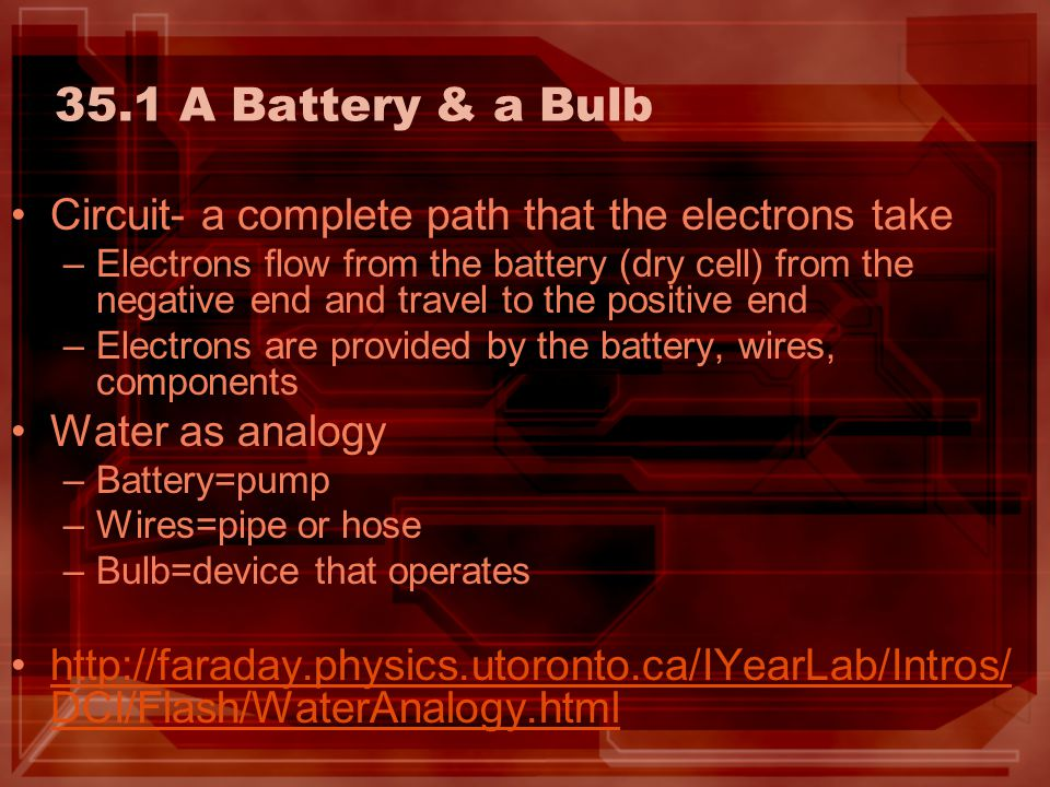 35.1 A Battery & a Bulb Circuit- a complete path that the electrons take.