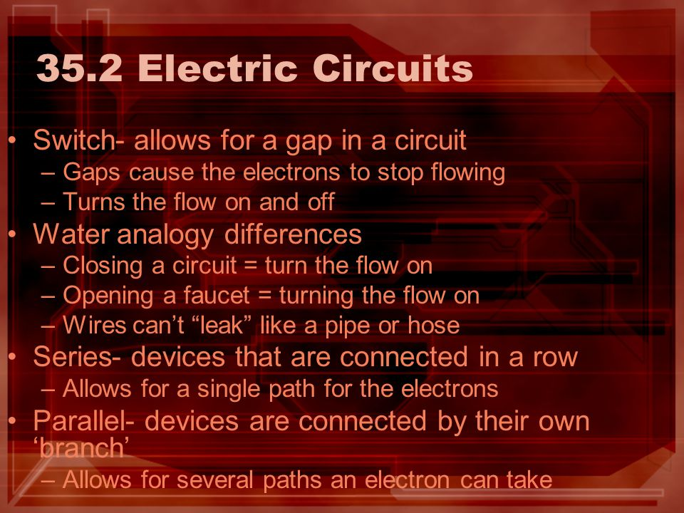 35.2 Electric Circuits Switch- allows for a gap in a circuit