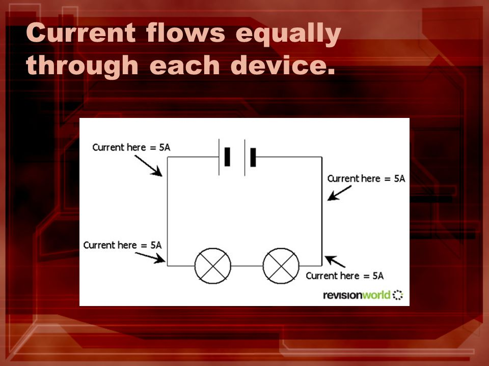 Current flows equally through each device.