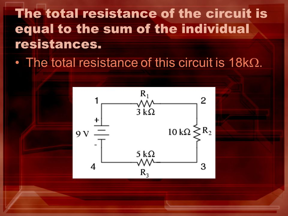 The total resistance of the circuit is equal to the sum of the individual resistances.