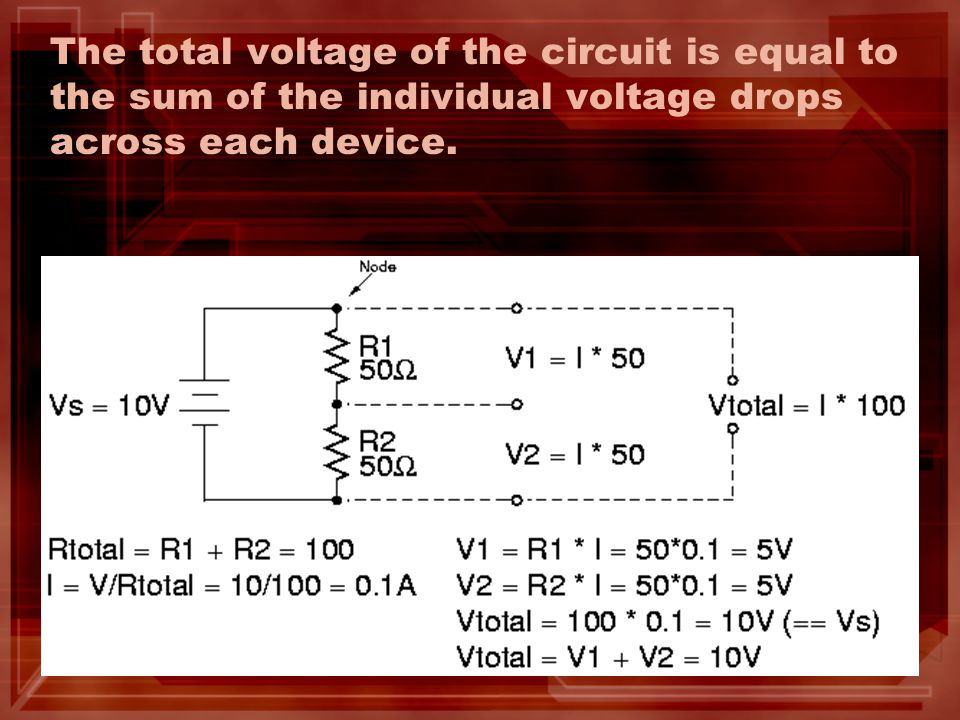 The total voltage of the circuit is equal to the sum of the individual voltage drops across each device.