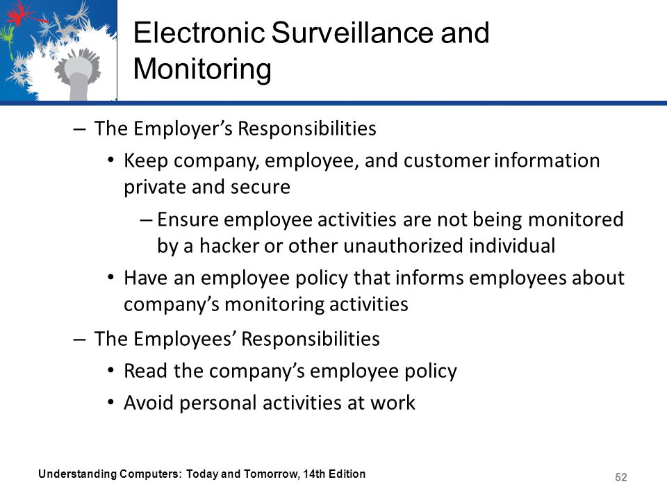 electronic surveillance of employees The business owners now prefer electronic surveillance of the employees it has tremendously increased since last two years in all companies earlier it was a case more in companies for games, mobile and website app development .