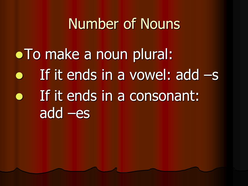 Number of Nouns To make a noun plural: If it ends in a vowel: add –s.