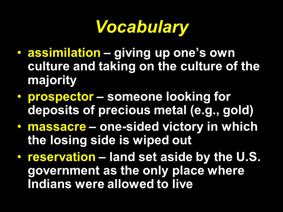 Vocabulary assimilation – giving up one's own culture and taking on the culture of the majority.