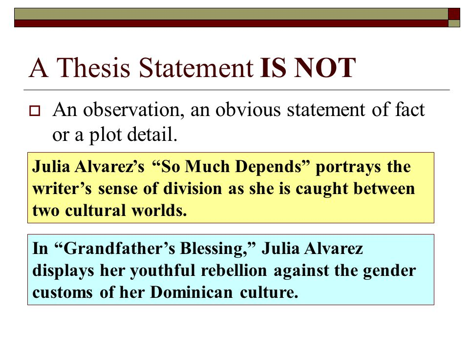 developing a thesis statement powerpoint