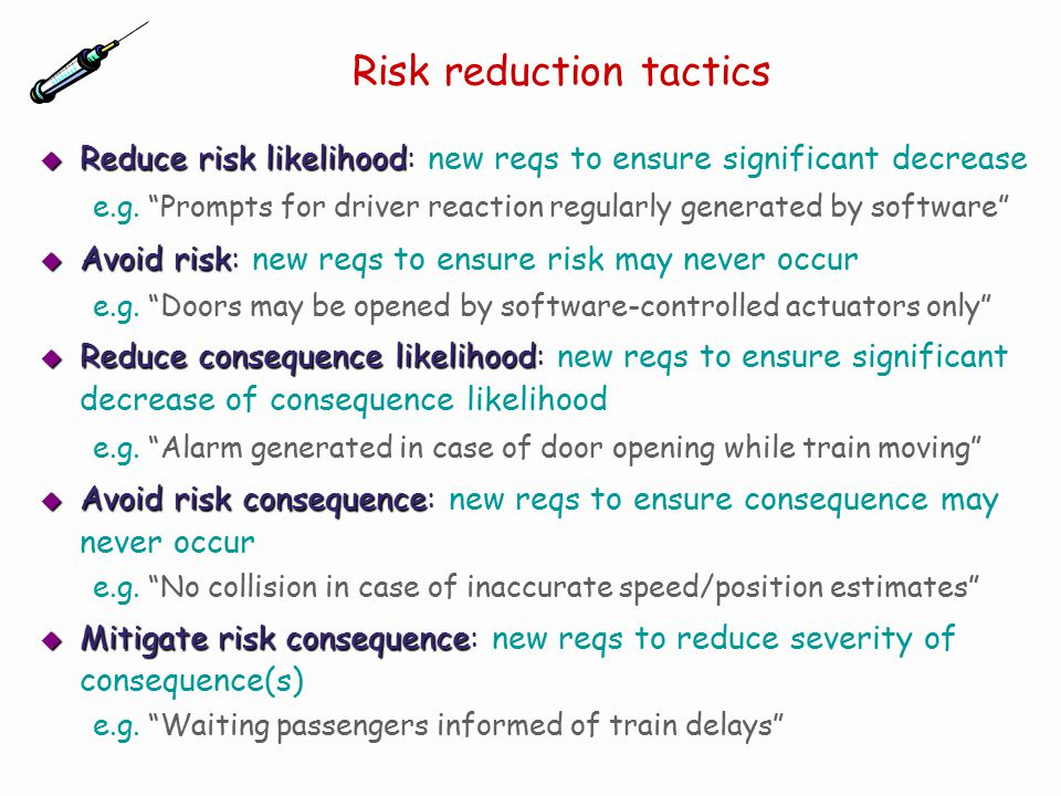 """does """"risk reduction"""" reduce the risk Risk reduction may refer to: absolute risk reduction or relative risk reduction,  statistical  text is available under the creative commons attribution-sharealike ."""