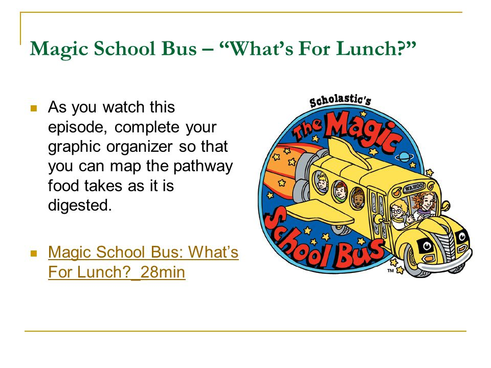 Magic School Bus – What's For Lunch
