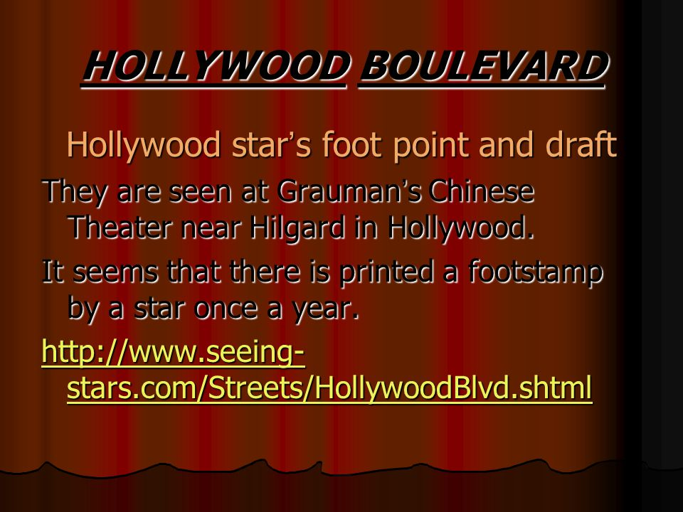 Hollywood star's foot point and draft
