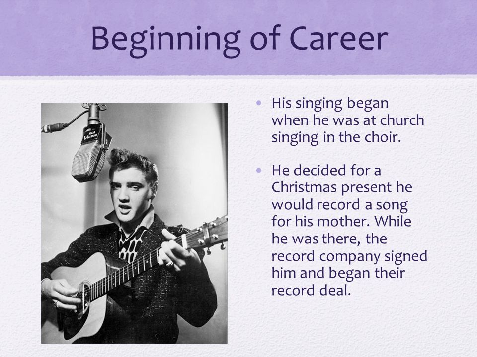 Beginning of Career His singing began when he was at church singing in the choir.