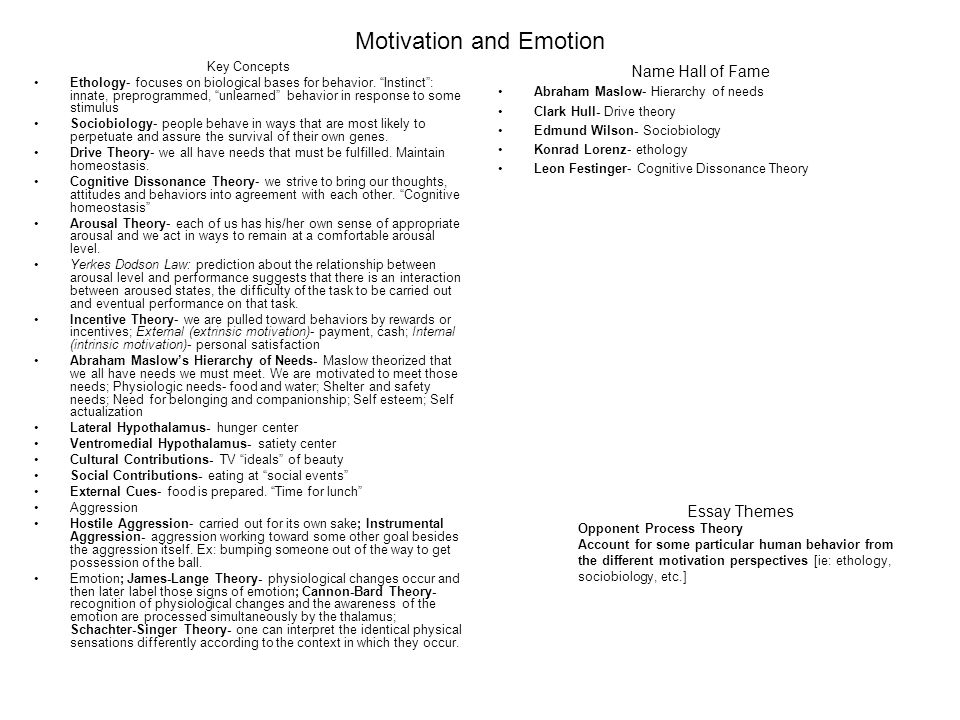 relationship between motivation emotion and behavior Relationships among cognition, emotion, and motivation: relations between social and motivated behavior pers individ differ on the relationship between emotion and cognition nat rev neurosci 9.