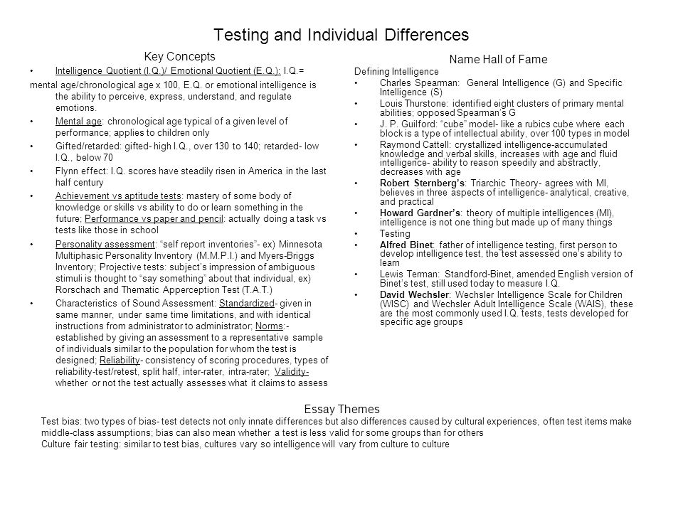 student generated study guide for the ap psychology examination  12 testing and individual differences