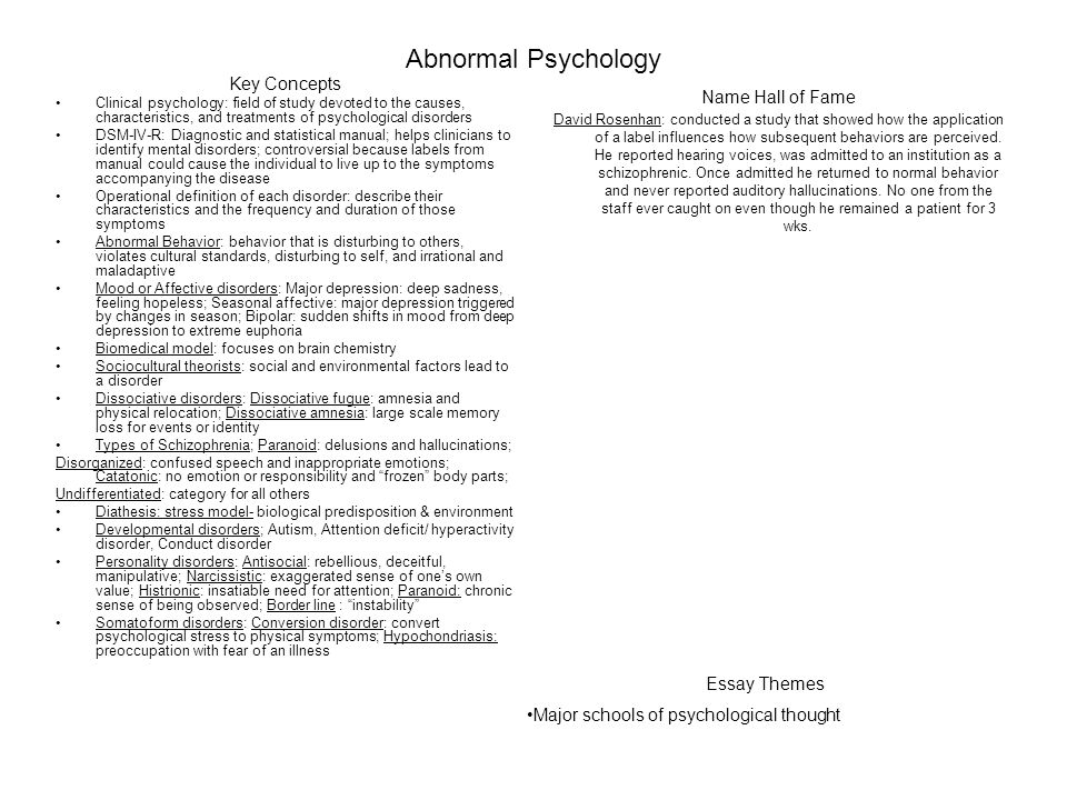 essay on abnormal psychology Psychology essays - abnormal psychology - the psychodynamic explanation for phobias assumes that abnormal behaviour such as phobias is the product of some form of.