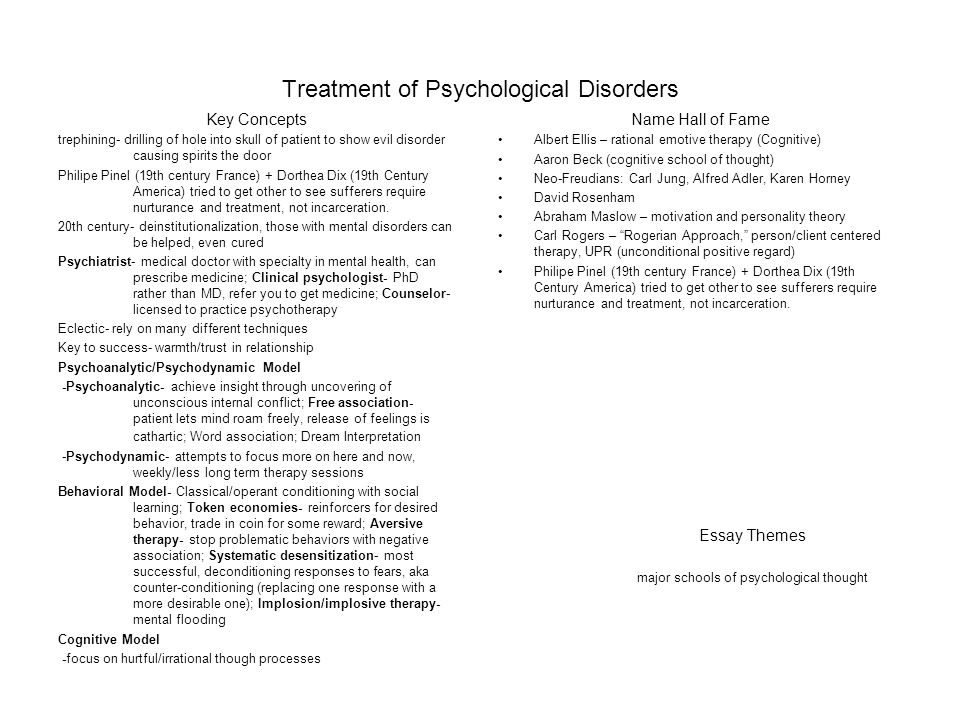 diagnosis of psychological disorders and treatment essay Tatiana saunders ps124: psychological disorders and treatment prof: marjorie vandemark kaplan university everyone has a personality with.