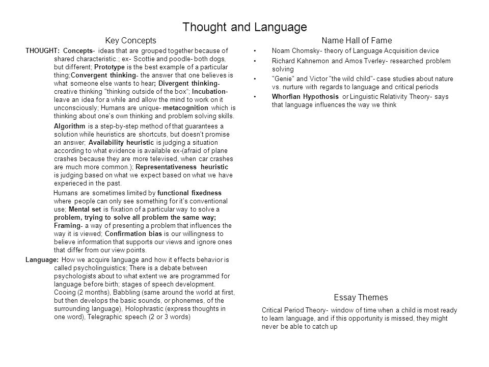 """language of thought essay To what extent is language necessary for thought essay  we call it a car instead of """"an engine driving the wheels with a body attached to carry passengers"""", to make it easier for us to transfer the thought within our mind and to others."""