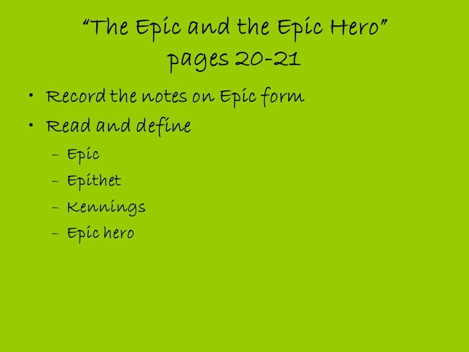 "The Epic and the Epic Hero"" & Beowulf - ppt download"