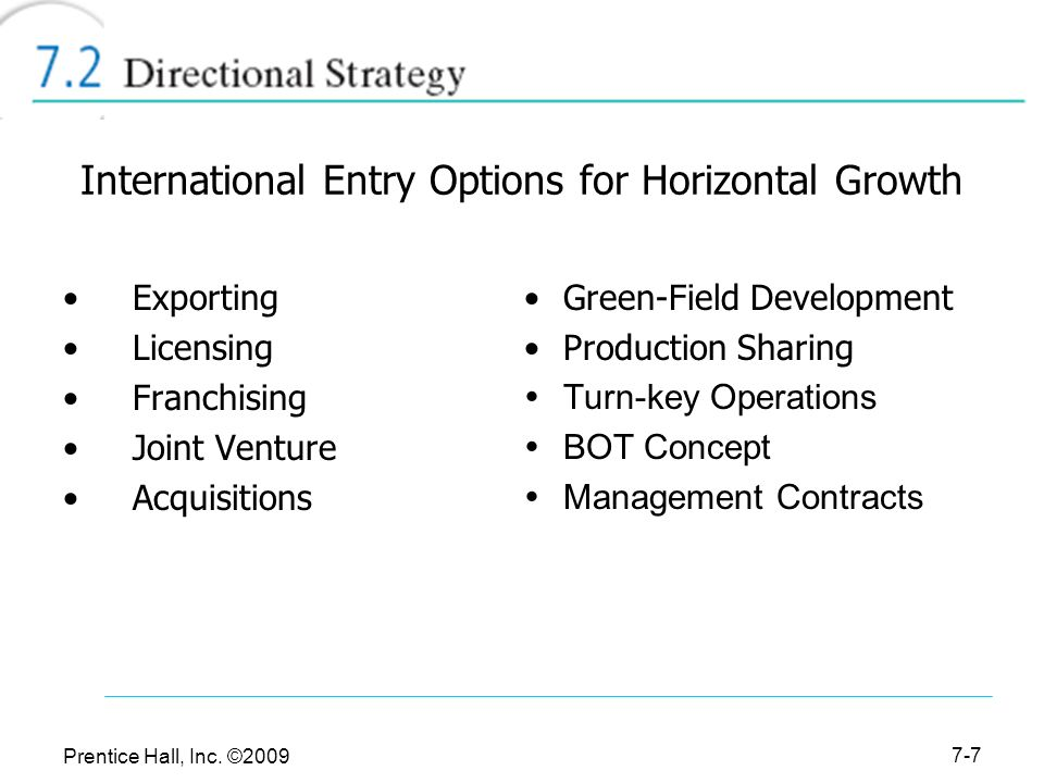 international entry options for horizontal growth Strengths, weaknesses, opportunities and  horizontal issues  energy options by making energy services available without excessive costs,.