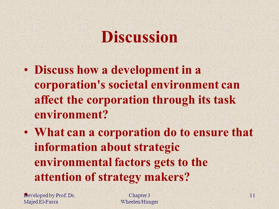 discuss how a development in a corporation s societal environment can affect the cooperation through Through executive education programs,  societal issues today's managers must recognize  who can affect the operations of the company.