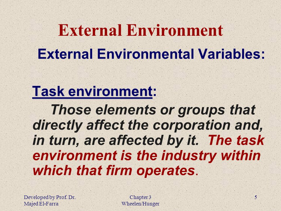the external enviroment An organization's internal environment is composed of the elements within the organization, including current employees, management, and especially corporate cu.