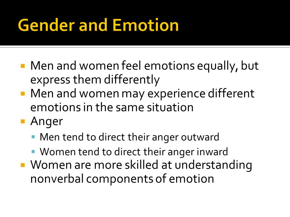 major gender differences in expressing emotion Gender differences in emotion expression in children: a meta-analytic review psychological bulletin, 139, 735-765 gender differences in emotion regulation.