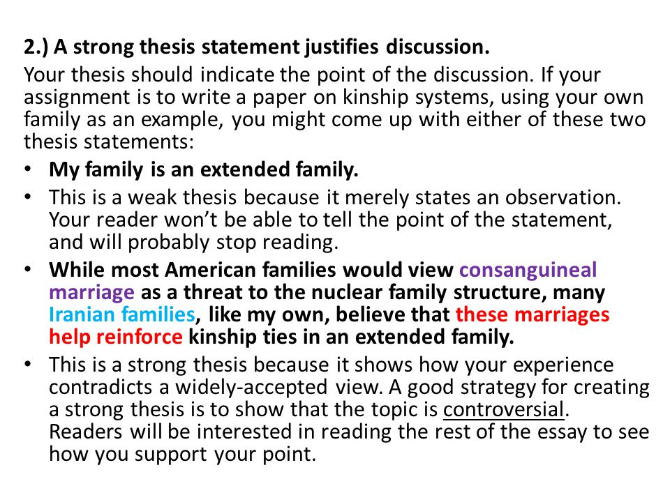 Help with thesis statement on family conflict