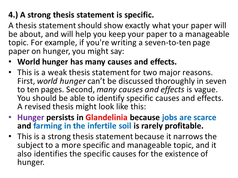 specific thesis statement Learn how to write an specific thesis statement examples effective thesis argumentative essay about deforestation statement with these tips and examples 10-2-2014.