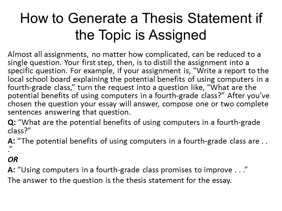 The Thesis Statement Notes  Ppt Video Online Download