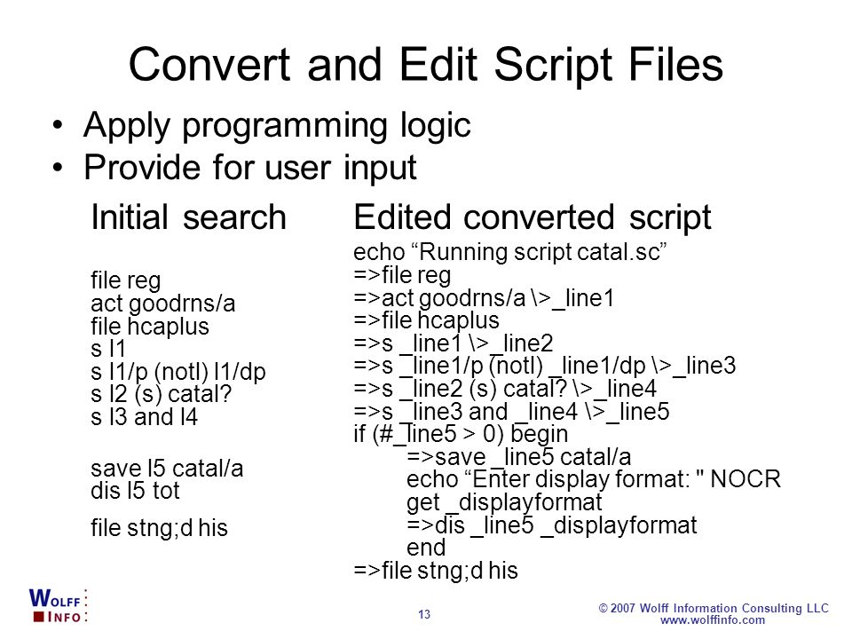 Convert and Edit Script Files