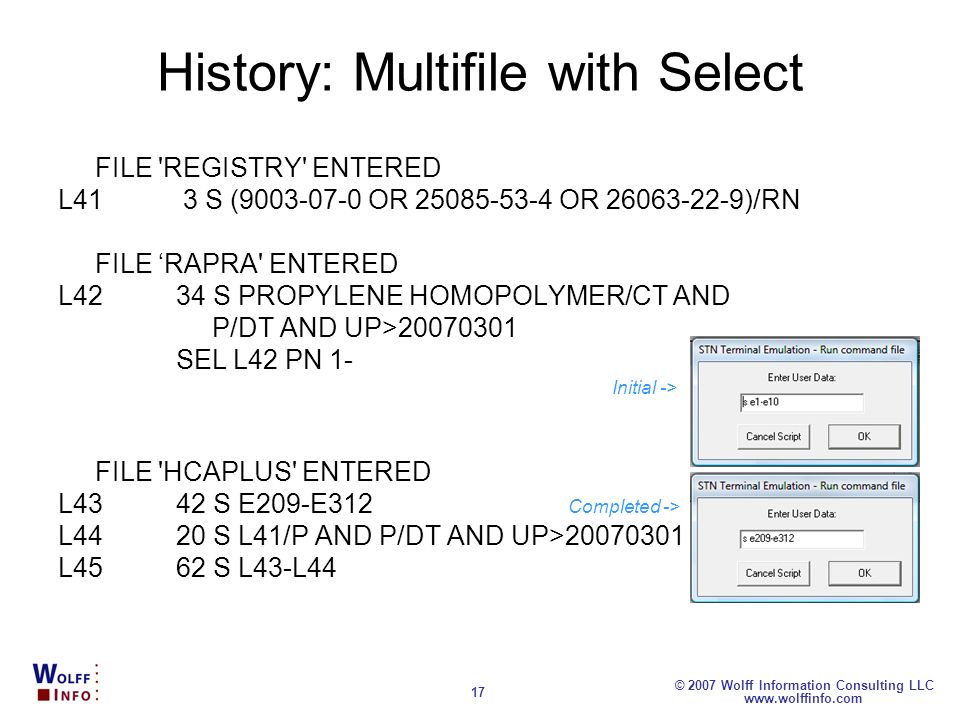 History: Multifile with Select
