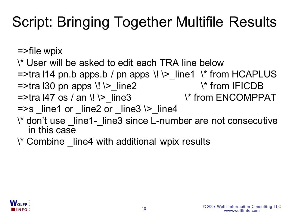 Script: Bringing Together Multifile Results