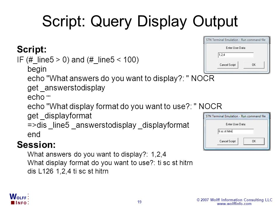 Script: Query Display Output
