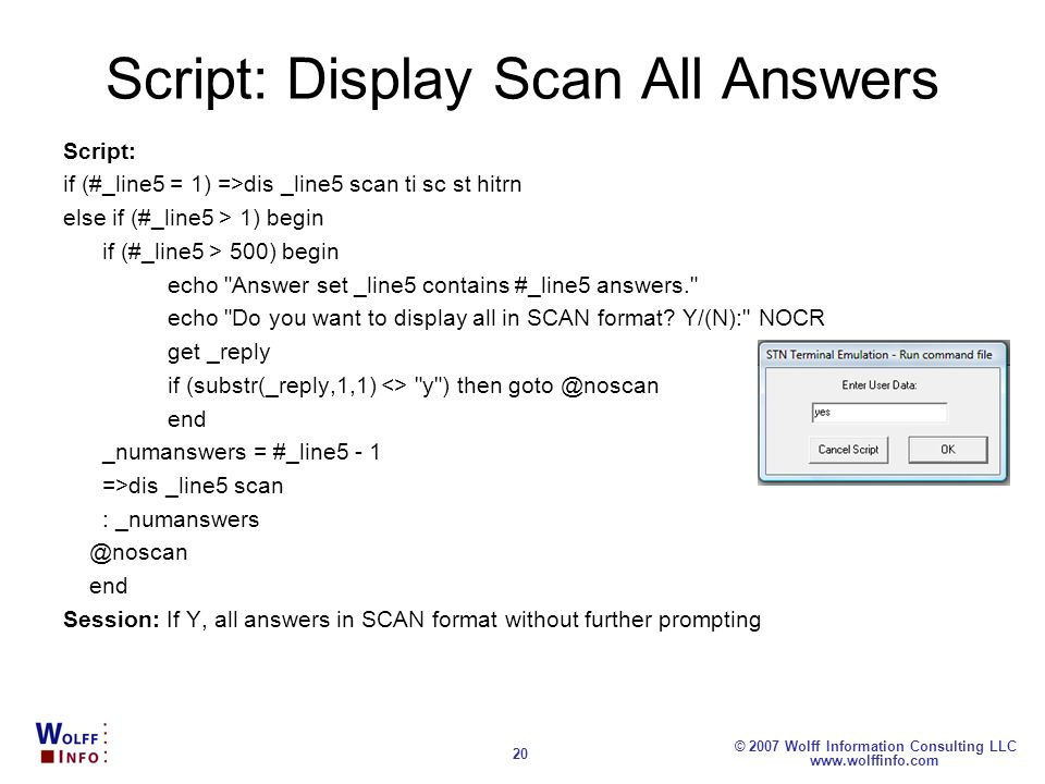 Script: Display Scan All Answers