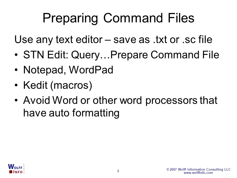 Preparing Command Files