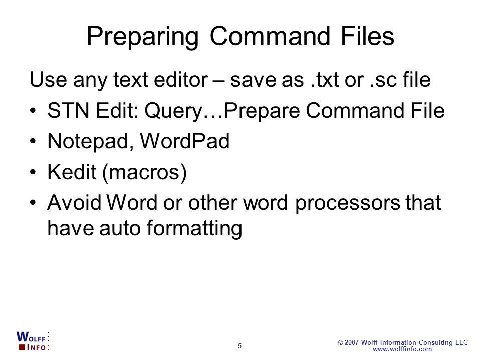 Preparing Command Files