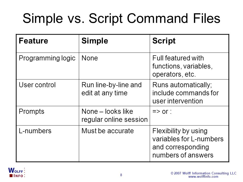 Simple vs. Script Command Files