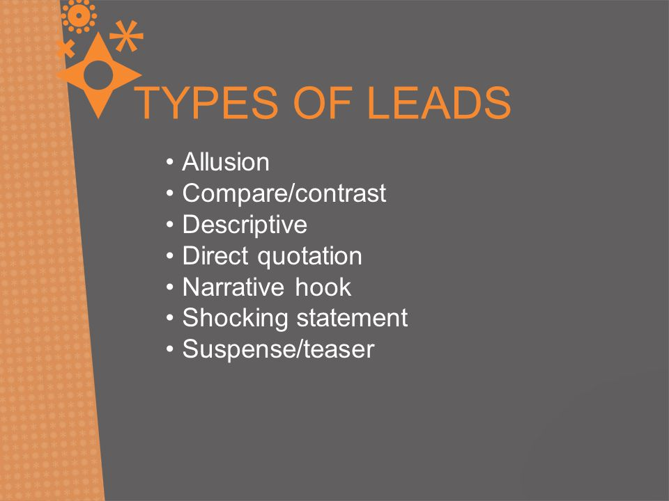 TYPES OF LEADS Allusion Compare/contrast Descriptive Direct quotation