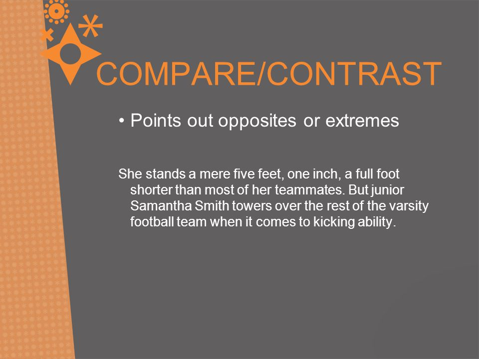 COMPARE/CONTRAST Points out opposites or extremes