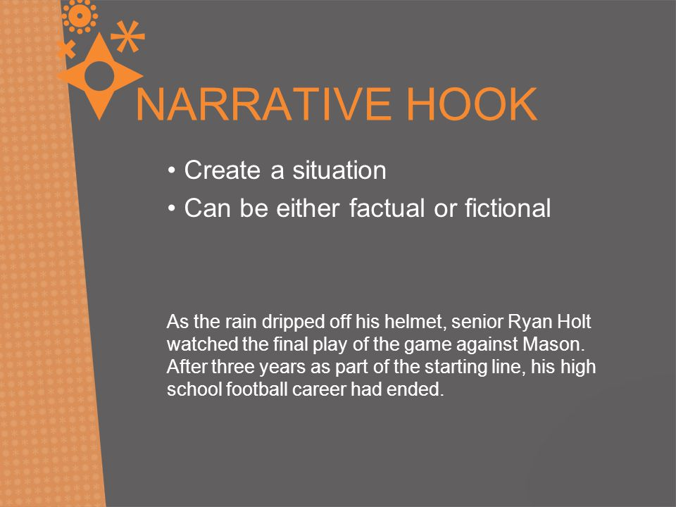 NARRATIVE HOOK Create a situation Can be either factual or fictional