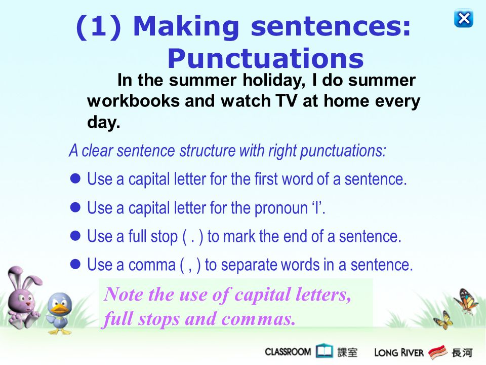 Making sentences: Punctuations