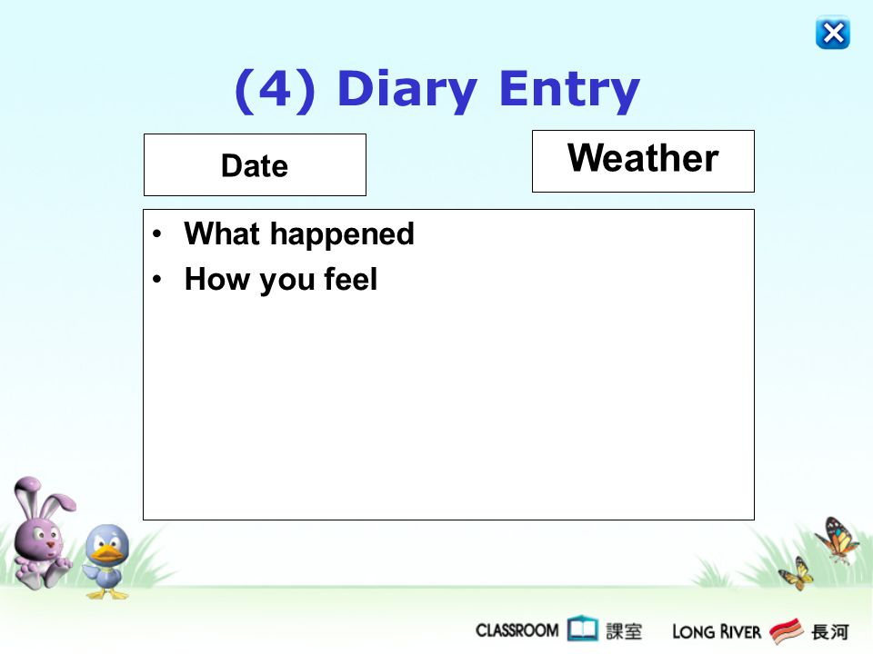 (4) Diary Entry Date Weather What happened How you feel