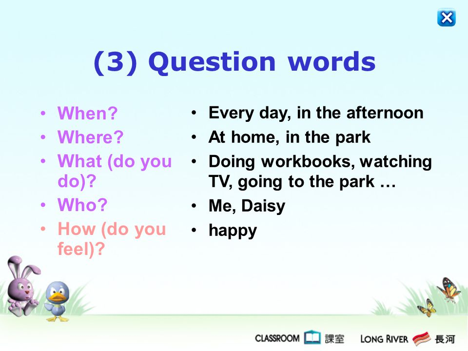 (3) Question words When Where What (do you do) Who
