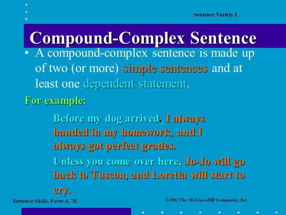 compound complex sentences examples pdf