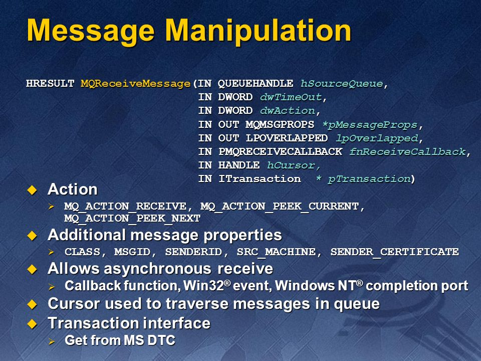 Message Manipulation Action Additional message properties