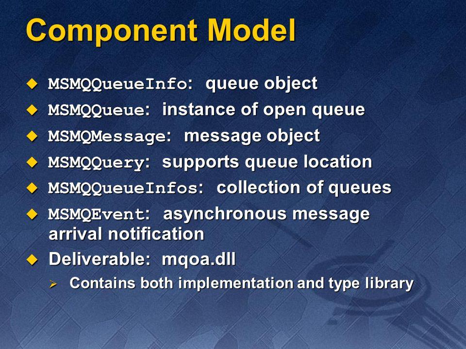 Component Model MSMQQueueInfo: queue object