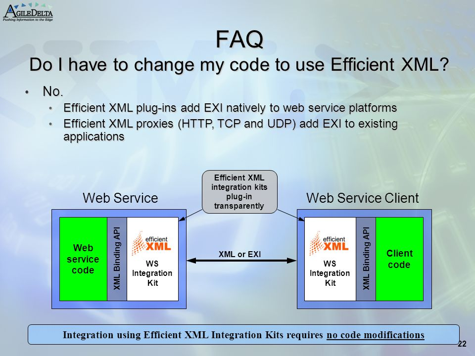 FAQ Do I have to change my code to use Efficient XML