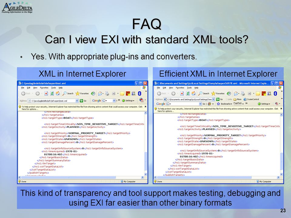FAQ Can I view EXI with standard XML tools