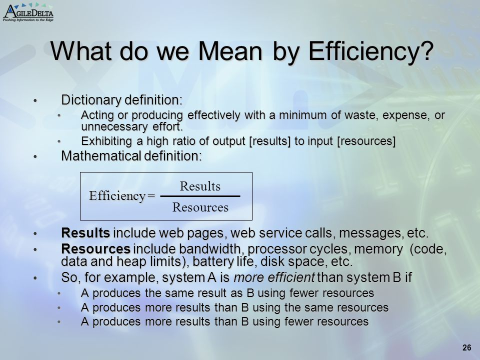 What do we Mean by Efficiency