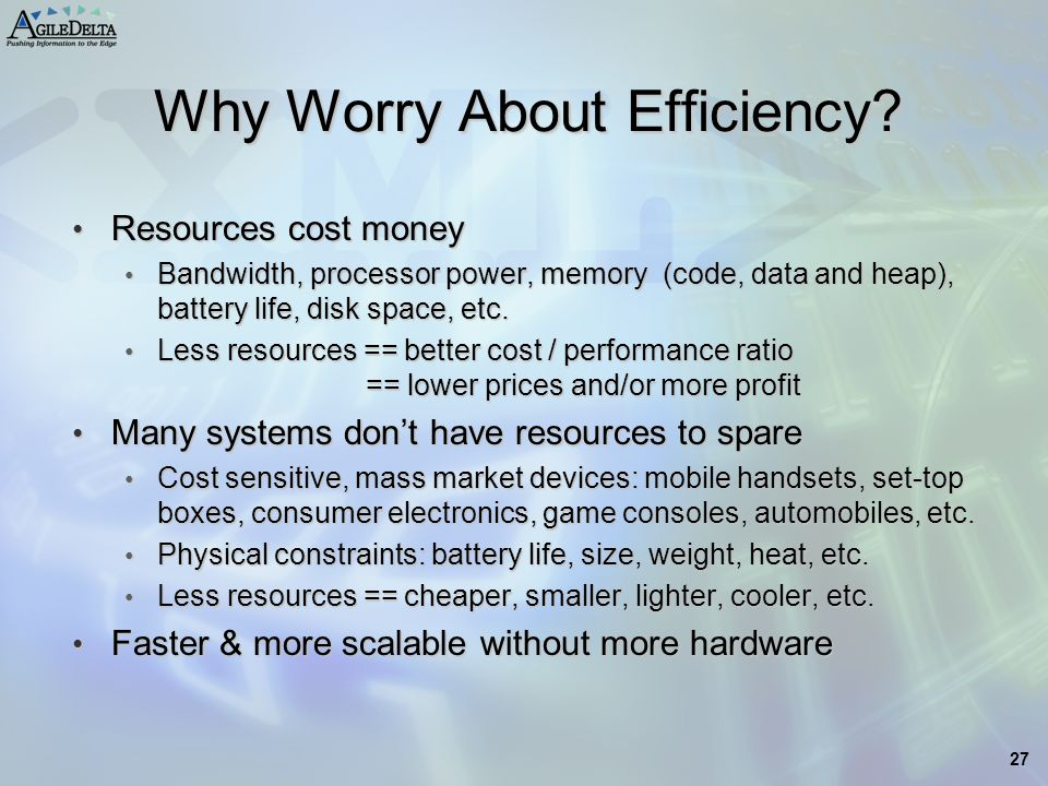 Why Worry About Efficiency