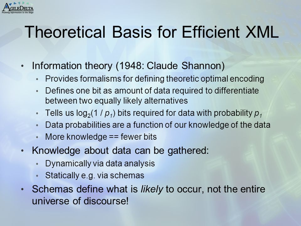Theoretical Basis for Efficient XML