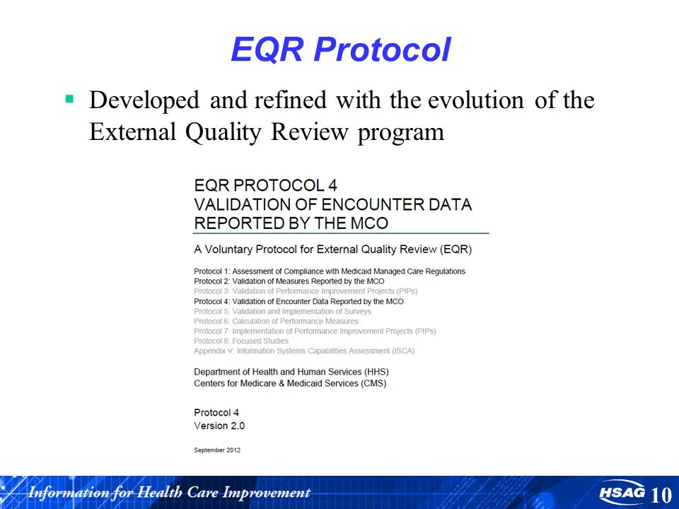 EQR Protocol Developed and refined with the evolution of the External Quality Review program 10