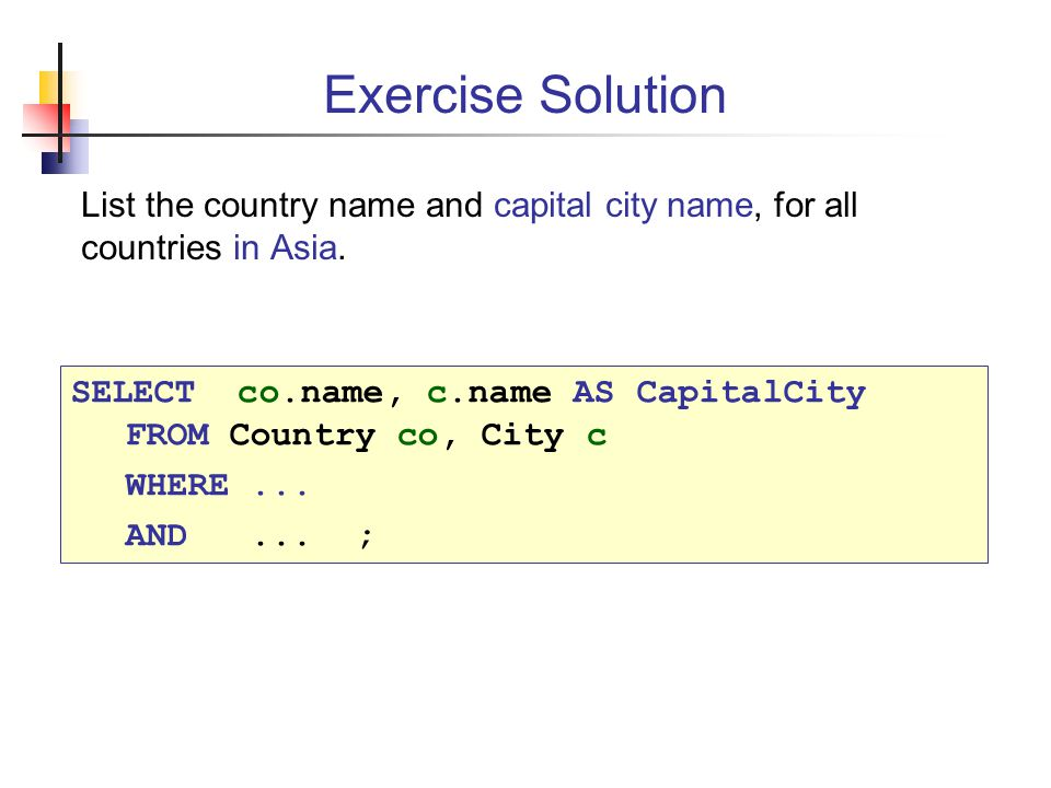 Database Access Using SQL Ppt Download - All country name and capital